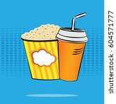 popcorn and a drink on a... | Shutterstock .eps vector #604571777