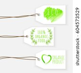 set of eco friendly labels.... | Shutterstock .eps vector #604573529