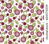 floral doodle seamless pattern. ... | Shutterstock .eps vector #604573559