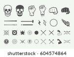 set of vintage fighting or... | Shutterstock .eps vector #604574864