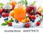 assortment of sweet jams and... | Shutterstock . vector #604579475