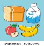 half a loaf of bread  milk... | Shutterstock .eps vector #604579991