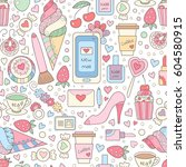 vector doodle seamless pattern... | Shutterstock .eps vector #604580915