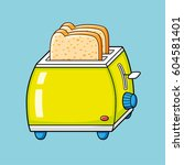 toaster with bread slices.   Shutterstock .eps vector #604581401