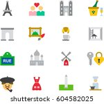 paris colored flat icons | Shutterstock .eps vector #604582025