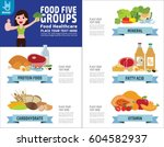 food five group foods healthy... | Shutterstock .eps vector #604582937