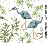 seamless pattern with heron... | Shutterstock .eps vector #604585505
