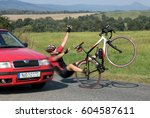 accident cars with biker. car... | Shutterstock . vector #604587611