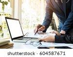 team work process. young... | Shutterstock . vector #604587671