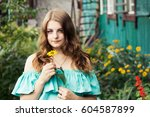 young attractive woman posing... | Shutterstock . vector #604587899