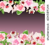 beautiful floral pattern of... | Shutterstock . vector #604589144
