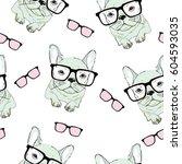 bulldog pattern   vector  ... | Shutterstock .eps vector #604593035