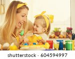 mother and daughter is enjoying ... | Shutterstock . vector #604594997
