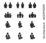 people silhouette vector icon... | Shutterstock .eps vector #604595009