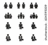 people silhouette set. vector | Shutterstock .eps vector #604595009