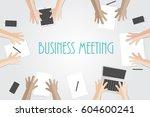 business meeting flat concept... | Shutterstock .eps vector #604600241