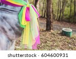 horse statue and three fabric... | Shutterstock . vector #604600931