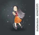 illustration of pretty girl... | Shutterstock . vector #604605395