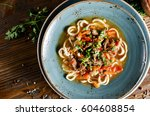 noodles with mutton and... | Shutterstock . vector #604608854