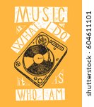 turntable print   music is not... | Shutterstock .eps vector #604611101
