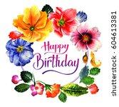 wildflower primrose flower... | Shutterstock . vector #604613381