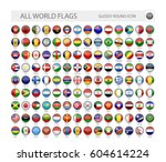 round glossy world flags vector ... | Shutterstock .eps vector #604614224