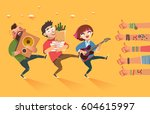 happy young boys and girl with... | Shutterstock .eps vector #604615997