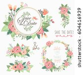 floral bouquet wreath frame... | Shutterstock .eps vector #604616939