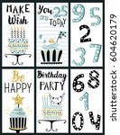 happy birthday party cards set... | Shutterstock .eps vector #604620179