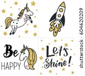 set of cards with gold... | Shutterstock .eps vector #604620209