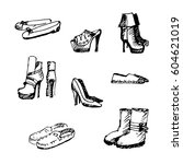 different kinds of hand drawn... | Shutterstock .eps vector #604621019