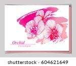 floral design with orchid... | Shutterstock .eps vector #604621649