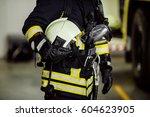 rescue firefighter in safe... | Shutterstock . vector #604623905