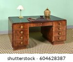 antique mahogany pedestal desk... | Shutterstock . vector #604628387