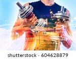 double exposure background .gym ... | Shutterstock . vector #604628879