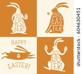 hand drawn happy easter title... | Shutterstock .eps vector #604630451
