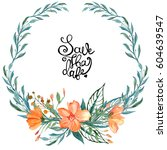 hand painted watercolor wreath. ... | Shutterstock . vector #604639547