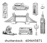 set of london hand drawn... | Shutterstock .eps vector #604645871