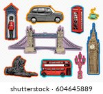 set of london hand drawn... | Shutterstock .eps vector #604645889
