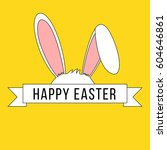 easter banner with bunny ears... | Shutterstock .eps vector #604646861