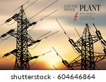 electric power station.... | Shutterstock .eps vector #604646864