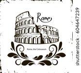rome colosseum sign. italian...   Shutterstock .eps vector #604647239