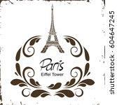 floral paris illustration...   Shutterstock .eps vector #604647245