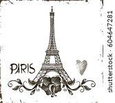 hand drawn eiffel tower. paris  ...   Shutterstock .eps vector #604647281