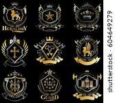 heraldic coat of arms created... | Shutterstock .eps vector #604649279