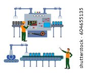 production process on the line... | Shutterstock .eps vector #604655135