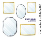 realistic mirrors set vector.... | Shutterstock .eps vector #604656185