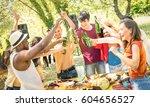 young multiracial friends...   Shutterstock . vector #604656527