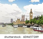 london cityscape hand drawn.... | Shutterstock .eps vector #604657289