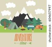 summer camping landscape....   Shutterstock .eps vector #604657997